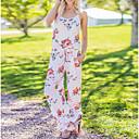 cheap Women's Sandals-Women's Floral Holiday Blue White Khaki Jumpsuit, Color Block Print L XL XXL Cotton Sleeveless Spring Summer