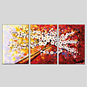 זול ציורים מופשטים-ציור שמן צבוע-Hang מצויר ביד - פרחוני / בוטני מודרני בַּד