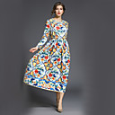 cheap Toy Kitchens & Play Food-SHE IN SUN Women's Work Street chic A Line / Swing Dress Print Maxi