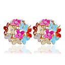 cheap Earrings-Women's Stud Earrings - Floral / Botanicals, Flower, Clover Colorful Rainbow / Red / Pink For Causal / Daily