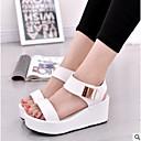 cheap Women's Sandals-Women's PU(Polyurethane) Summer Comfort Sandals Flat Heel Open Toe White / Black
