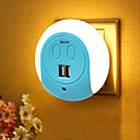 billige Bluetooth/håndfritt bilsett-BRELONG® 1pc Wall Plug Nightlight Smart Sensor Dobbel USB US Mobil lader Bedside Lysstyring