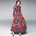 hesapli Gelin Şalları-Kadın's Kılıf Çan Elbise - Çiçekli Zıt Renkli, Dantelli Desen Gömlek Yaka