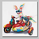 cheap Animal Paintings-Oil Painting Hand Painted - Animals Animals Simple Modern Canvas