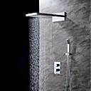 זול ברזים למקלחת-עכשווי מותקן על הקיר מפל מים מקלחת גשם שפורפרת יד כלולה שסתום קרמי שתי ידיות שלושה חורים כרום, ברז למקלחת