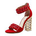 זול סנדלי נשים-בגדי ריקוד נשים נעליים דמוי עור אביב / קיץ נוחות / חדשני / מגפיים אופנתיים סנדלים עקב קריסטל שחור / אדום / חתונה