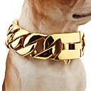 baratos Roupas para Cães-Cachorro Colarinho Segurança Sólido Aço Inoxidável Dourado