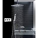 זול ברזים למקלחת-עכשווי רכוב תיקרה מקלחת גשם שפורפרת יד כלולה תרמוסטטי שסתום קרמי שלוש ידיות שלושה חורים כרום, ברז למקלחת