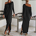 cheap Women's Boots-Women's Off Shoulder Party / Holiday / Going out Maxi Tunic Dress - Solid Colored Split Off Shoulder Spring Brown Black Gray M L XL / Loose