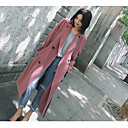 cheap Women's Sneakers-Women's Going out Coat - Solid Colored, Oversized Shirt Collar