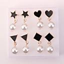 זול עגילים אופנתיים-בגדי ריקוד נשים פנינה עגילים צמודים - דמוי פנינה לב, כוכב ארופאי, אופנתי שחור עבור יומי
