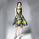 זול קוקו-צווארון V מידי דפוס, פרחוני - שמלה גזרת A / סווינג סגנון רחוב עבודה בגדי ריקוד נשים