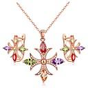 voordelige Sieraden Set-Dames Kristal Sieraden set - Klassiek, Modieus omvatten Druppel oorbellen / Hangertjes ketting Goud Voor Dagelijks / Oorbellen