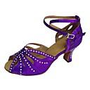 cheap Latin Shoes-Women's Latin Shoes Satin Sandal Customized Heel Customizable Dance Shoes Black / Purple / Navy