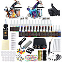 cheap Starter Tattoo Kits-Tattoo Machine Starter Kit - 2 pcs Tattoo Machines with 28 x 5 ml tattoo inks, Professional Mini power supply Case Not Included 2 alloy machine liner & shader