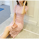 cheap Women's Heels-Women's Lace Going out Sophisticated Sheath Dress - Solid Colored Lace Summer Red Pink Light Blue L XL XXL / Slim