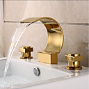 cheap Bathroom Sink Faucets-Bathroom Sink Faucet - Waterfall Ti-PVD Widespread Two Handles Three Holes