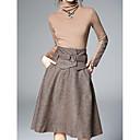זול חולצות לבנות-חצאית גדול, צבע אחיד - סט ארוך כותנה מידות גדולות בגדי ריקוד נשים / אביב / סתיו