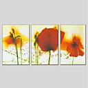 זול ציורי נוף-ציור שמן צבוע-Hang מצויר ביד - פרחוני / בוטני מודרני בַּד