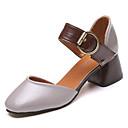 זול נעלי אוקספורד לנשים-בגדי ריקוד נשים נעליים PU אביב נוחות עקבים חסום את העקב בוהן עגולה בז' / אפור / צהוב