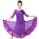 זול הלבשה לריקודים לטיניים-ריקוד לטיני תלבושות בגדי ריקוד נשים הדרכה פוליאסטר תחרה דוגמא \ הדפס מפרק מפוצל חצי שרוול גבוה חצאיות עליון