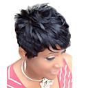 abordables Pelucas Sintéticas de Malla-Pelo humano pelucas sin tapa Cabello humano Ondulado Natural Corte Pixie Parte lateral Hecho a Máquina Peluca