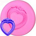 abordables Decoraciones de Pastel-molde de pastel de silicona vintage corazón espejo marco molde fondant cortador de la magdalena herramientas para hornear