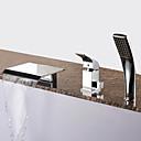 billige Badekraner-Badekarskran - Moderne Krom Romersk kar Keramisk Ventil Bath Shower Mixer Taps / Messing / Enkelt håndtak tre hull