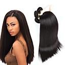 baratos Extensões de Cabelo com Cor Natural-4 pacotes Cabelo Brasileiro Liso Cabelo Humano Cabelo Humano Ondulado Tramas de cabelo humano Extensões de cabelo humano / Reto
