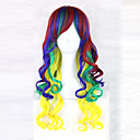 cheap Synthetic Capless Wigs-Synthetic Wig Wavy With Bangs Synthetic Hair Side Part Blue Wig 13cm(Approx5inch) Capless Rainbow