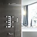 זול ברזים למקלחת-עכשווי מותקן על הקיר מקלחת גשם שפורפרת יד כלולה תרמוסטטי שסתום קרמי חמש ידיות תשעה חורים כרום, ברז למקלחת