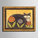 halpa Kehystetty taide-Kehystetty kanvaasi Kehystetty setti - Eläimet Kukkakuvio / Kasvitiede Muovi Illustration Wall Art