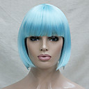 baratos Acessórios para GoPro-Perucas sintéticas / Perucas de Fantasia Liso Corte Bob / Com Franjas Cabelo Sintético Azul Peruca Mulheres Curto Sem Touca Azul