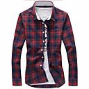 זול ספלים וכוסות-משובץ מידות גדולות כותנה, חולצה - בגדי ריקוד גברים / שרוול ארוך