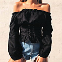 cheap Choker Necklaces-Women's Going out Street chic T-shirt - Solid Colored Boat Neck / Spring / Summer / Lace up