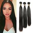 זול תוספות שיער בגוון טבעי-3 חבילות שיער ברזיאלי ישר שיער בתולי טווה שיער אדם שוזרת שיער אנושי תוספות שיער אדם
