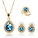 זול סטים של ביגוד לבנות-בגדי ריקוד נשים קריסטל סט תכשיטים - ציפוי זהב אופנתי לִכלוֹל סטי תכשיטי כלה כחול עבור Party / מתנה