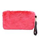 זול תיקי ערב וקלאצ'ים-בגדי ריקוד נשים שקיות קטיפה תיק יד נוצות \ פרווה פוקסיה / חום / אדום כהה