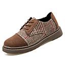זול נעלי אוקספורד לנשים-בגדי ריקוד נשים נעליים עור נובוק אביב נוחות נעלי אוקספורד שטוח בוהן עגולה שחור / חום כהה