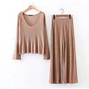hesapli Tablolar-Kadın's V Yaka Sokak Şıklığı Salaş Bluz Pantolon / Bahar / Yaz