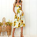 preiswerte Wand-Sticker-Damen A-Linie Kleid - Druck, Blumen Midi Gurt Tropisches Blatt / Weiß