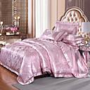 cheap Floral Duvet Covers-Duvet Cover Sets Luxury 4 Piece Silk/Cotton Blend Jacquard Silk/Cotton Blend 1pc Duvet Cover 2pcs Shams 1pc Flat Sheet