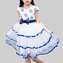 preiswerte Kleider für Mädchen-Kinder Mädchen Party Alltag Blumen Patchwork Spitze Schleife Ärmellos Kunstseide Polyester Kleid Blau / Niedlich