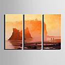 hesapli Manzara Resimleri-Hang-Boyalı Yağlıboya Resim El-Boyalı - Manzara Modern Iç çerçeve dahil / Üç Panelli / Gerilmiş kanvas