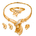 cheap Jewelry Sets-Women's Jewelry Set - Gold Plated Fashion, Statement Include Bracelet Bangles / Stud Earrings / Choker Necklace Gold For Wedding / Party / Ring