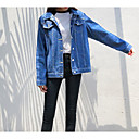 cheap Facial Care Devices-Women's Daily Vintage Spring Regular Denim Jacket, Solid Colored Round Neck Long Sleeve Cotton / Linen / Acrylic Pleated Blue L / XL / XXL