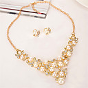 cheap Jewelry Sets-Women's Jewelry Set - Pearl, Crystal, Gold Plated Floral / Botanicals, Leaf, Flower Fashion Include Gold For Wedding / Party / Earrings