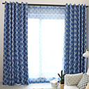 cheap Blackout Curtains-Blackout Curtains Drapes Bedroom Plaid / Checkered / Graphic Prints Polyester Blend Printed / Blackout / Bedroom