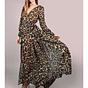 cheap Women's Flats-Women's Party Basic Cotton Sheath Dress - Leopard Maxi V Neck
