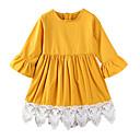 זול שמלות לבנות-שמלה כותנה פוליאסטר אביב קיץ יומי ליציאה אחיד טלאים הילדה של פשוט יום יומי צהוב